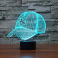 MLB Cleveland Indians Team Baseball Cap 3D Illusion Nightlight 7 Color Changing Led Desk Table Lamp Home Decor Gadgets 3472