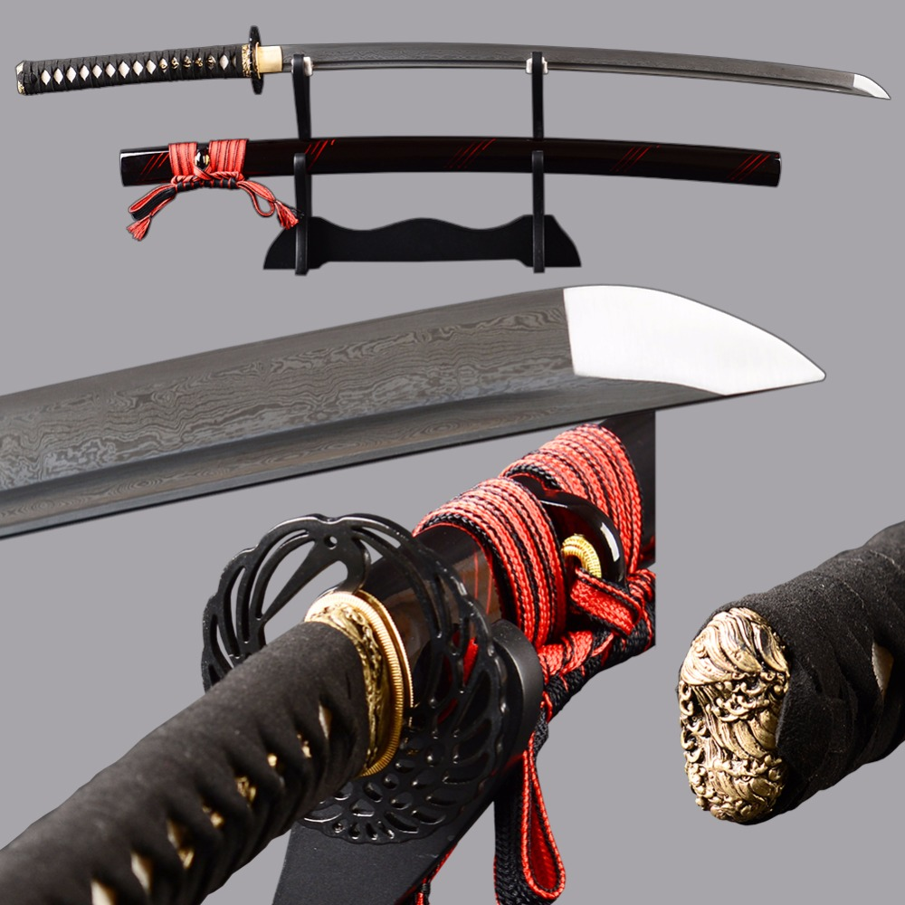 Brandon Swords Sharp Tameshigiri Knife Damascus Folded Steel Japanese Katana Full Tang Bushido Train Knife Real Leather HandlleBrandon Swords Sharp Tameshigiri Knife Damascus Folded Steel Japanese Katana Full Tang Bushido Train Knife Real Leather Handlle