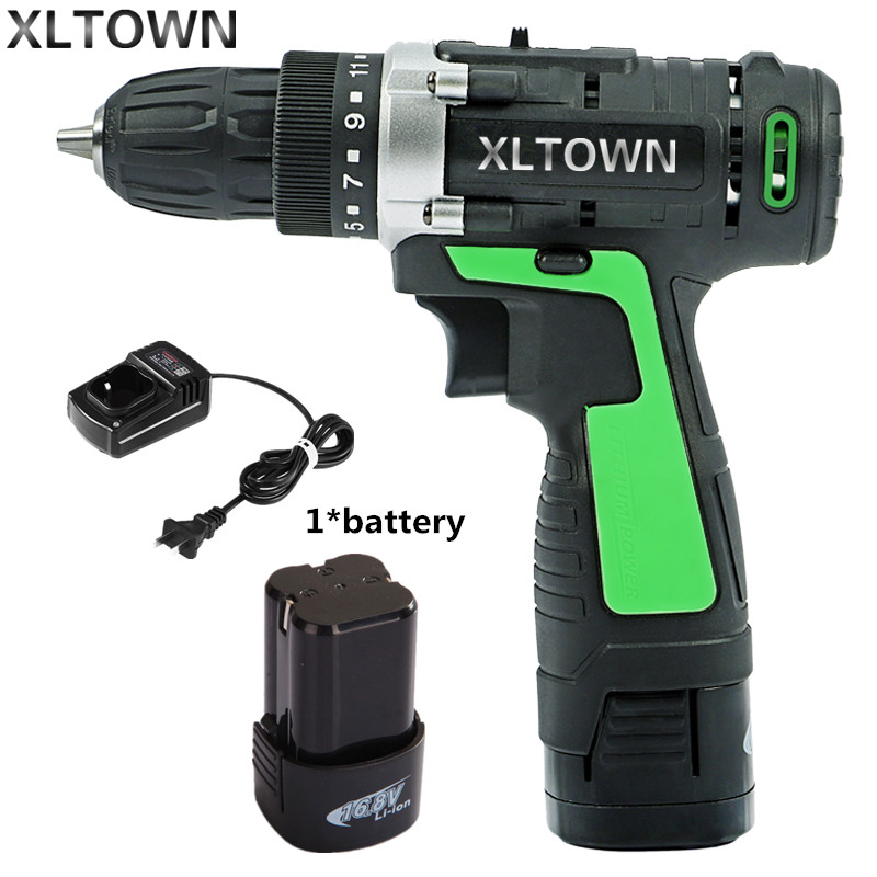 XLTOWN new 16.8v Electric Drill Electric Screwdriver Rechargeable Two-Speed Electric Screwdriver Household power tools free shipping brand proskit upt 32007d frequency modulated electric screwdriver 2 electric screwdriver bit 900 1300rpm tools