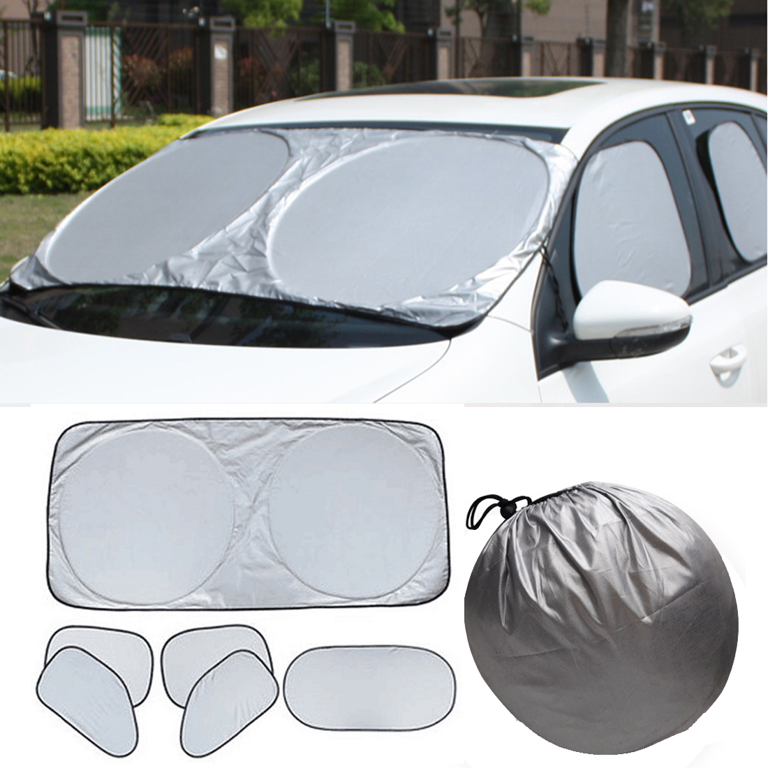 6pcs Folding Silvering Reflective Car Windshield Window Sun Shade Visor Shield Cover Suction Cup Car Sunshield Sunscreen Curtain