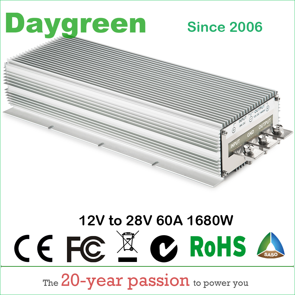 12V TO 28V 60A STEP UP DC DC CONVERTER 60 AMP 1680Watt H60-12-28 Daygreen CE RoHS Certificated