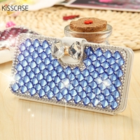 Glitter Rhinestone Stand Silk Skin Flip Leather Case For IPhone 7 6 6S 5 5S SE
