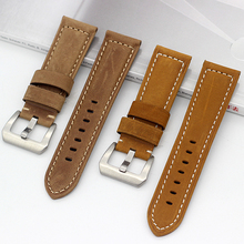 24MM Vintage Genuine Crazy Horse Leather Watch Strap Bands For PAM441 PAM111 PAM438 Watchbands Mens Cow Bracelet