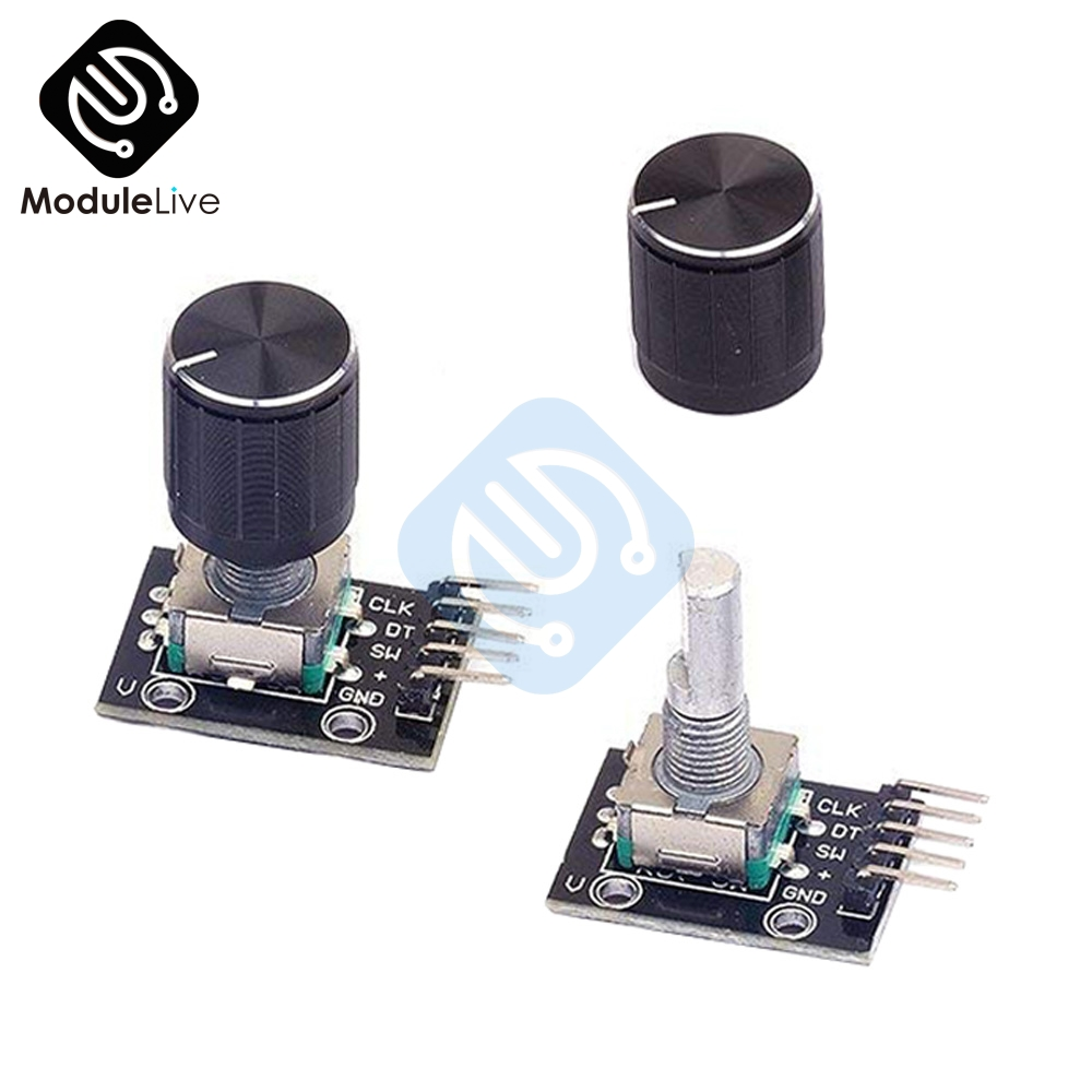 1PC KY-040 360 Degree Rotary Encoder Module For Arduino Board Brick Switch With Pin With Half Shaft Hole Caps Knob