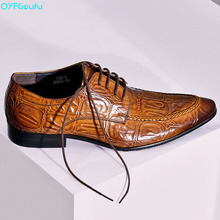 QYFCIOUFU Vintage British Man Dress Shoe Genuine Leather Crocodile Pattern Oxfords Pointed Toe Lace Up Men Wedding Flats US 11.5
