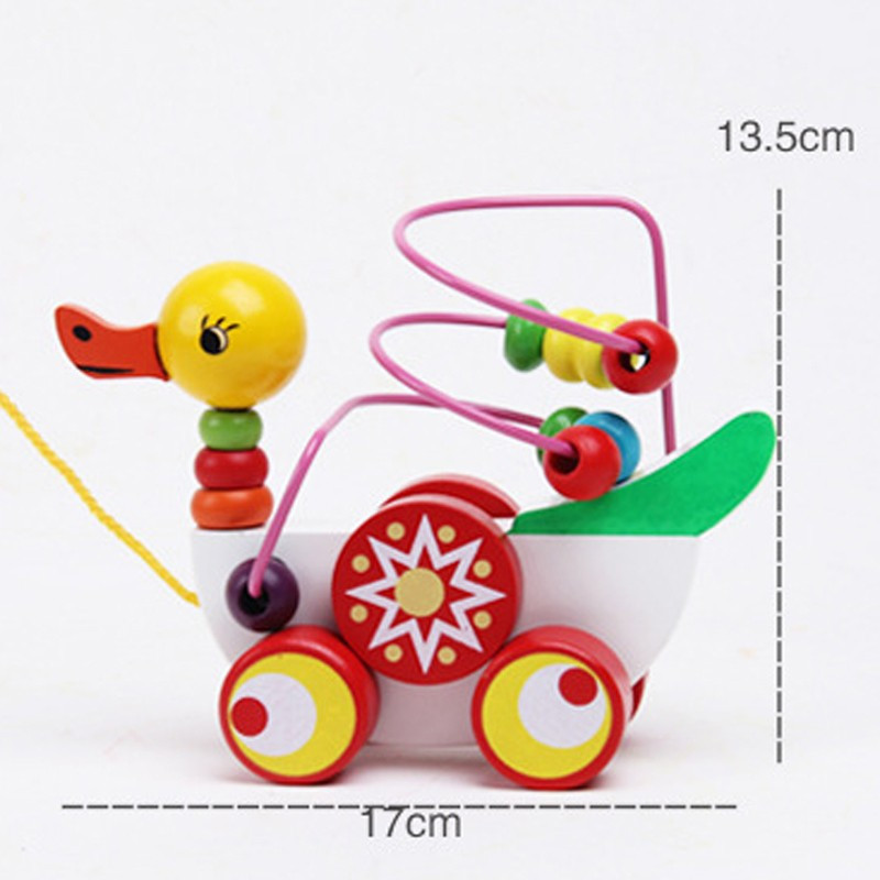 Educational duckling trailer toy mini around beads learning game multicolour children kids puzzle baby infant wooden Toys 9