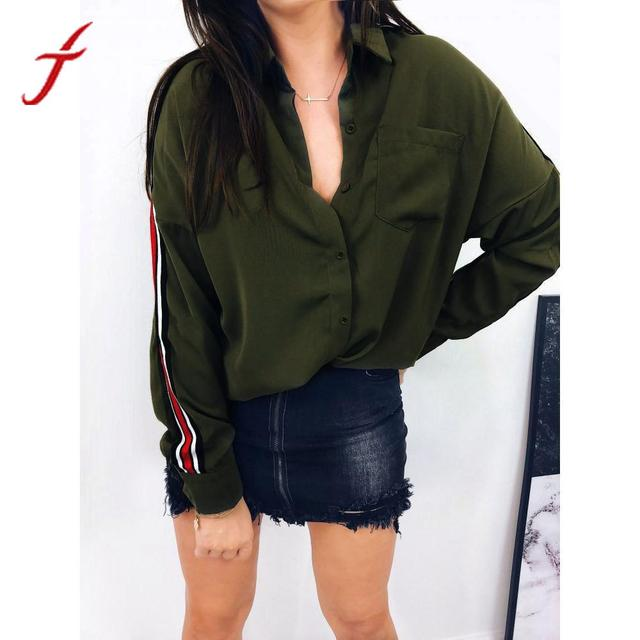 Feitong Fashion Office Lady Blouse Women Casual White Shirt Lapel Collar Stripe Long Sleeve Botton Shirt Blusas Female Tops