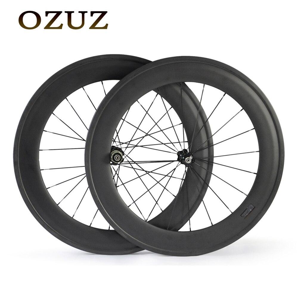 OZUZ 88mm v brake standard wheels 23mm width carbon wheels 3k matte or glossy clincher tubular wheelset 700c fixed free custom цена
