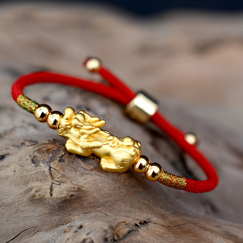 Lucky Red Rope Bracelets 999 Sterling Silver Pixiu Gold Color Tibetan Buddhist Knots Adjustable Charm Bracelet For Women