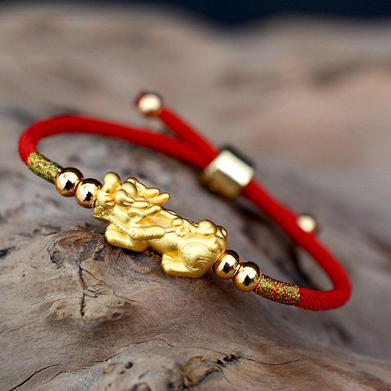Cuerda roja afortunada pulseras 999 plata esterlina Pixiu oro Color Budista Tibetano nudos pulsera ajustable para las mujeres