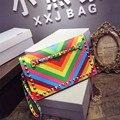 Outono e Inverno cor do arco íris listrado sacos envelope Projetado Bolsas Rebite Mulheres Bolsas Casuais Moda Bolsas De Couro De Luxo