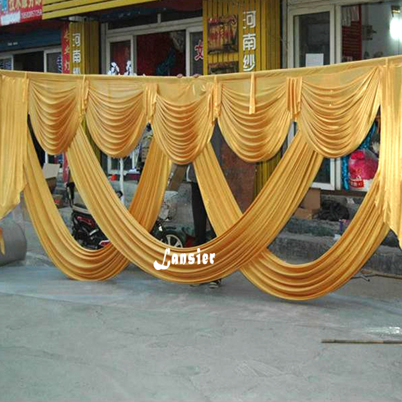 6 meter length wedding backdrop party decoration ice silk fabric drapery gold swag stage background drape - Silk Drapes