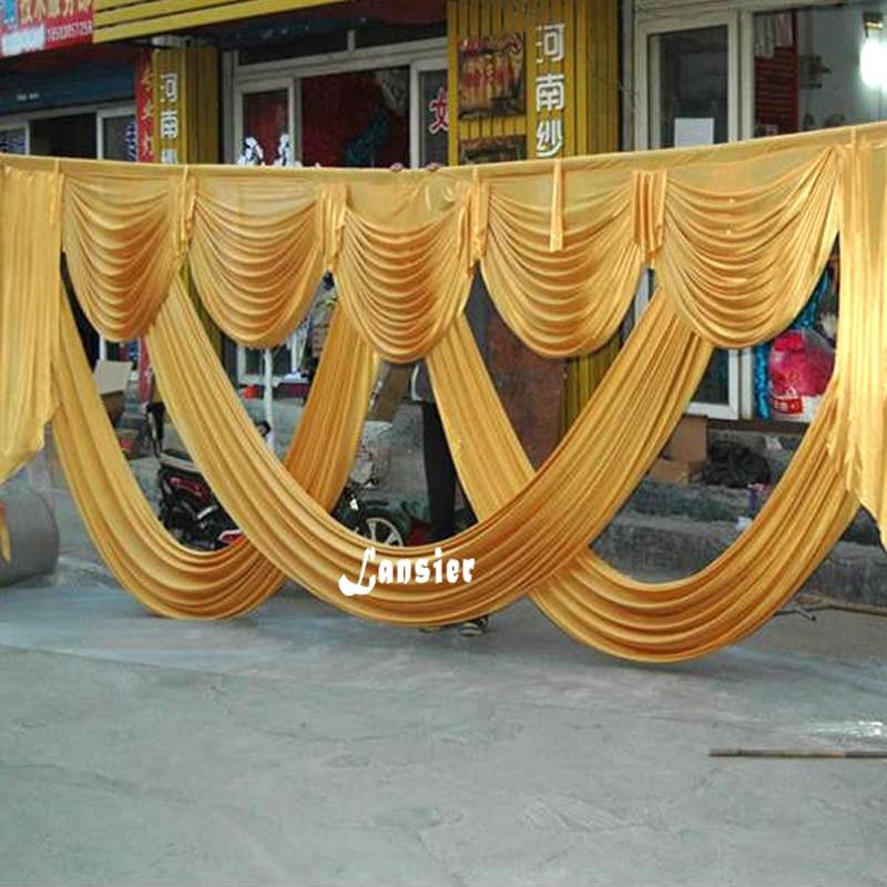 6 metara duljina vjenčanja kulisa party dekoracija led svilene tkanine draperija zlatna swag faza pozadina drape zavjesa pozadina swags