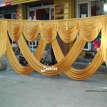 ستارة خلفية لحفلات الزفاف بطول 6 متر ديكور للحفلات مصنوعة من نسيج الحرير الجليدي ستارة خلفية للمسرح غنيمة ذهبية