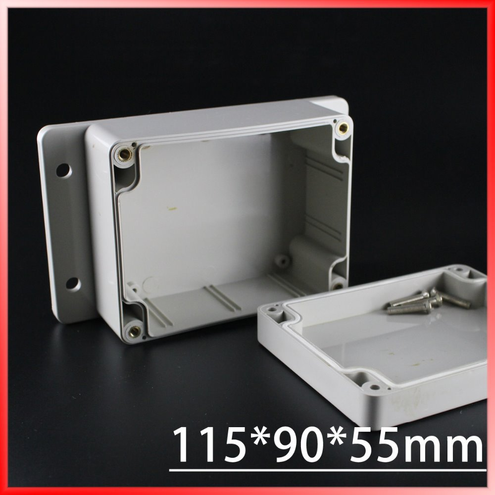 (1 piece/lot) 115*90*55mm Grey ABS Plastic IP65 Waterproof Enclosure PVC Junction Box Electronic Project Instrument Case waterproof abs plastic electronic box white case 6 size