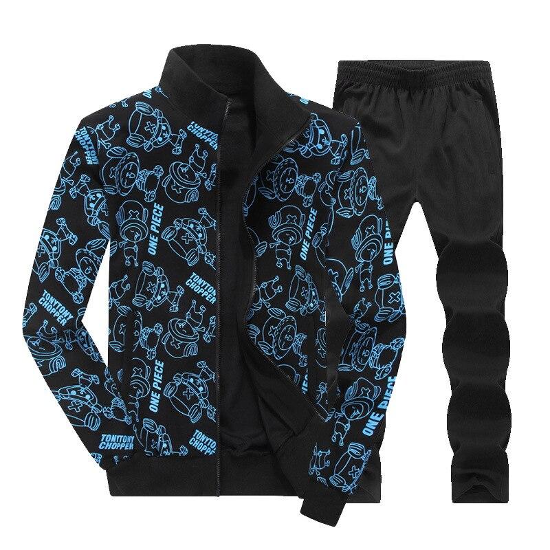 AmberHear 2019 New Spring Autumn Men Sporting Suit Two Piece Set Sweatsuit Jacket+Pant Print Tracksuit For Men Set Clothing 8XL