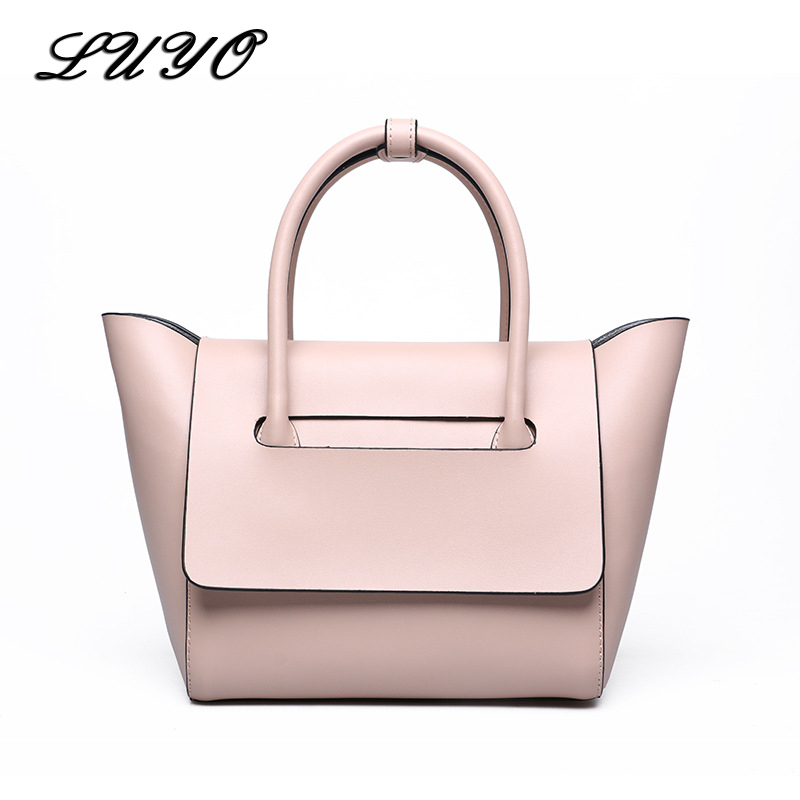 LUYO Famous Brands Genuine Leather Luxury Handbags Women Shoulder Top-handle Bags Female Designer High Quality Tote Bag Neutral vintage women bag high quality crossbody bags luxury designer large messenger bags famous brands female shoulder bag tassen flap