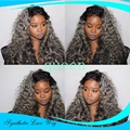 New Arrival Ombre Wig Heat Resistant Synthetic Lace Front Wig Afro Kinky Curly Wigs Natural Black To Grey Ombre Synthetic Wigs