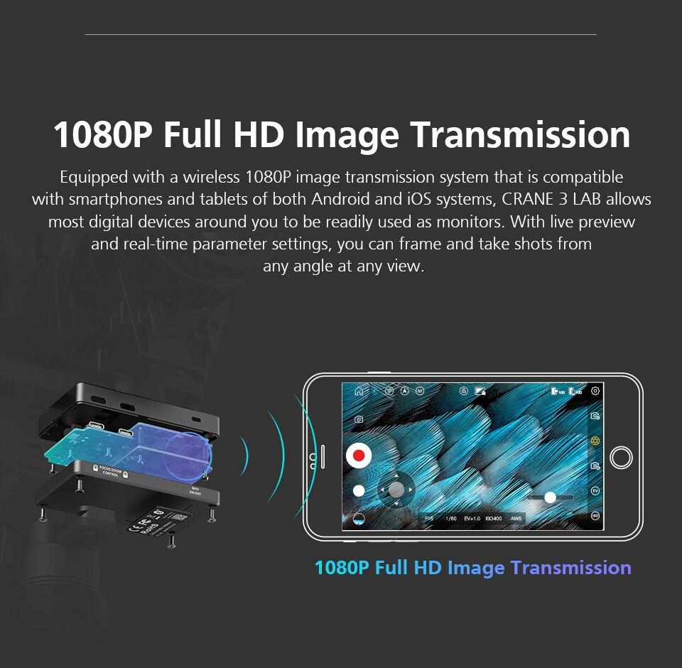 Zhiyun Crane 3 Lab Crane 2 Upgrade Version 3-Axis Gimbal Stabilizer for DSLR Cameras, 1080P Full HD Wireless Image Transmission 7