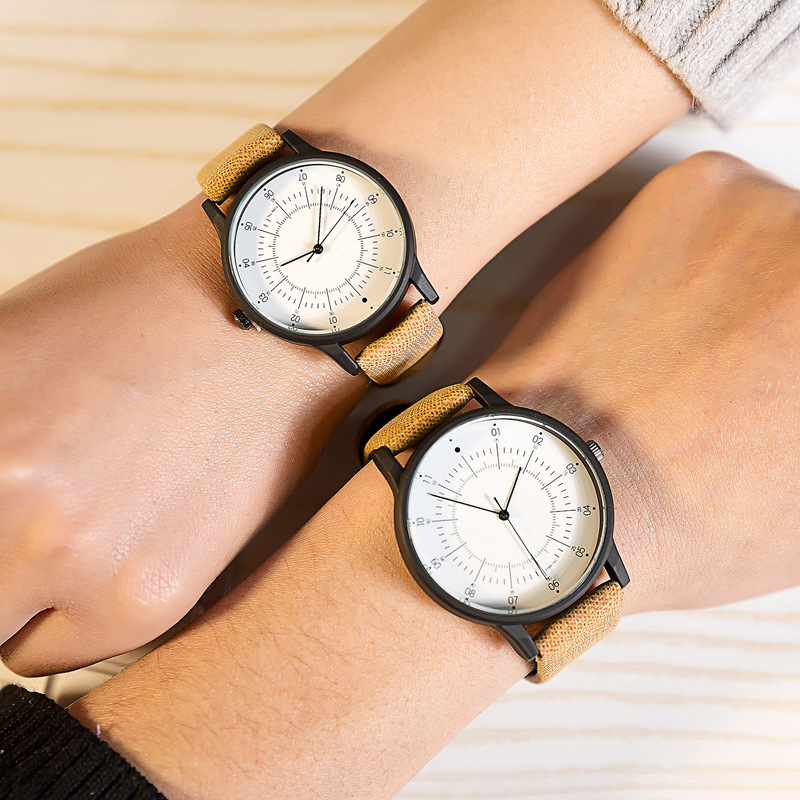 New Design Sun Scale Simple Quartz-watch Thin Pointer Casual Leather Creative Watch For Men And Women Couple Lover Wristwatches