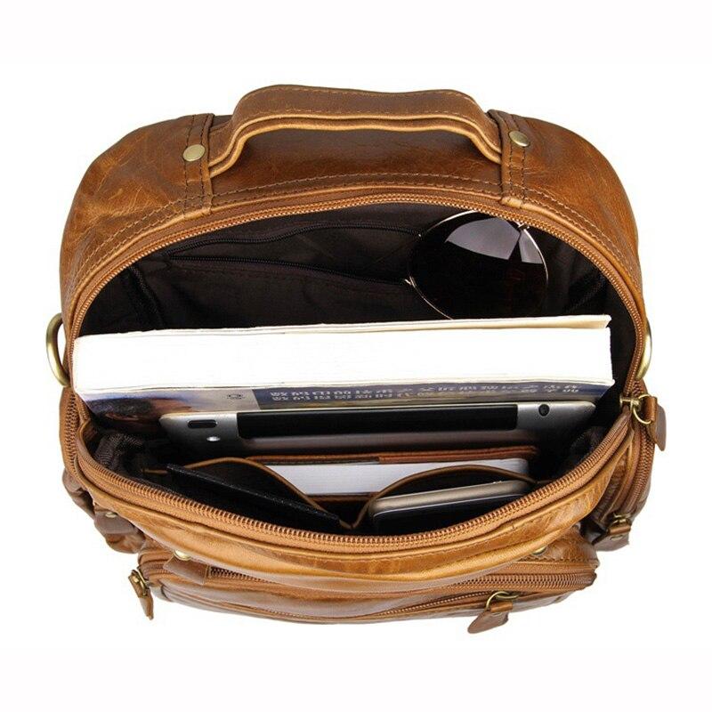 Top Grade première couche vache en cuir véritable sac à dos hommes pochette d'ordinateur Vintage huile cire en cuir sac à dos femmes unisexe voyage fourre-tout - 6