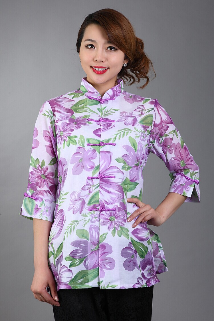 Sexy Purple Hollow Out Flower Women Shirt Chinese Traditional Cotton Blouse Long Style Thin Flower Tops S M L XL XXL XXXL WS049