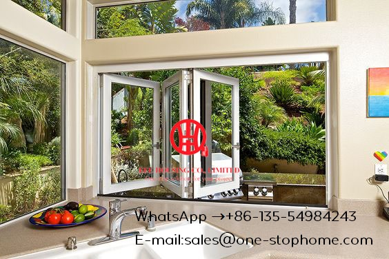 Aluminum Frame Interior Tempered Folding Glass Door,Customized 3 Or 4 Panes Double Glazed Aluminum Profile Bi-folding Door