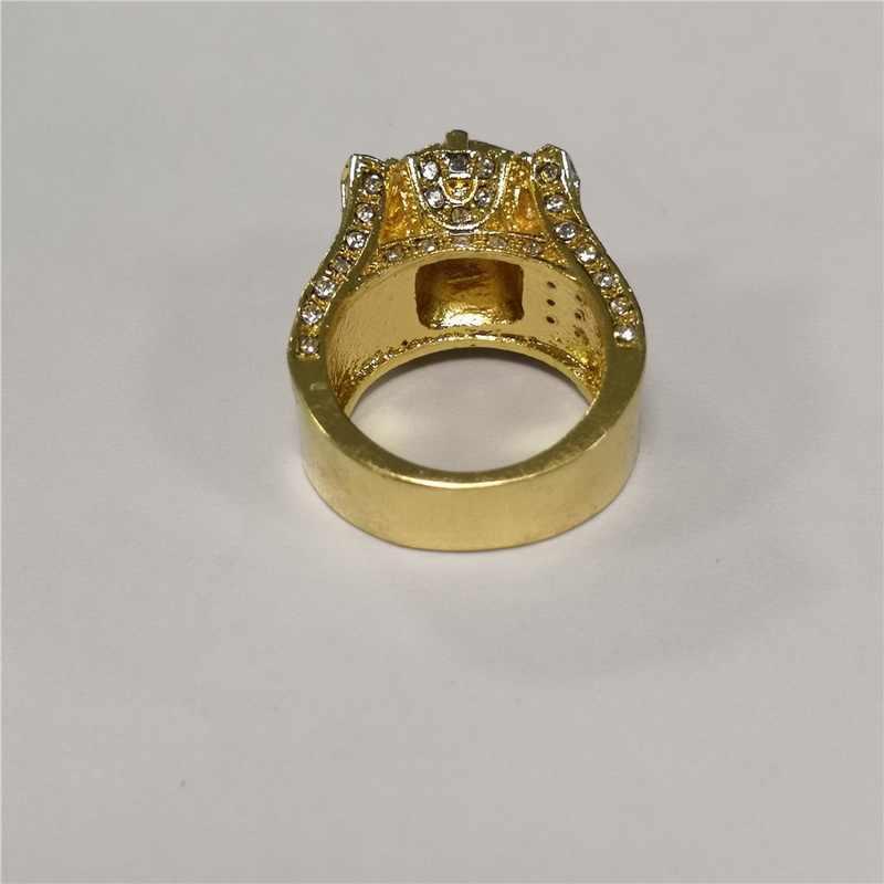 יוקרה זהב צבע מיקרו פייב לבן CZ אבן טבעת היפ הופ אייס מתוך בלינג גדול טבעת לגברים תכשיטי Masculino anillos L3N988