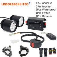 LDDCZENGHUITEC DC 12V LED Headlight Universal Motorcycle Handlebar Lights Waterproof Lamp 2017 New Car Styling Auxiliary