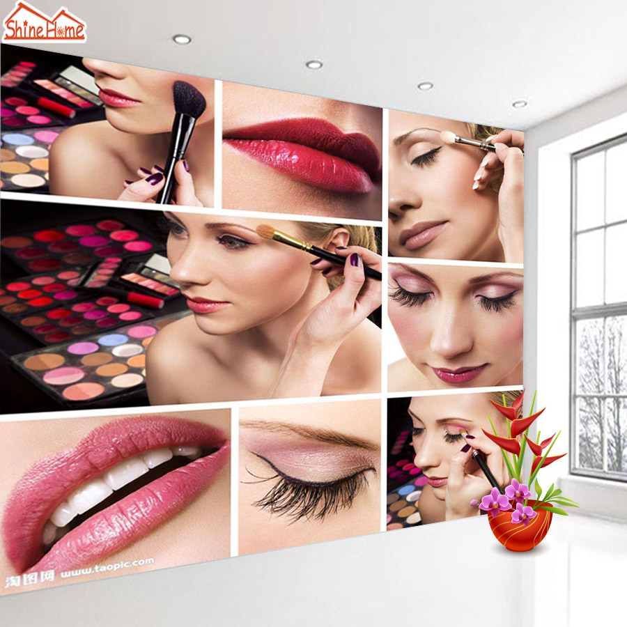 ShineHome-Fashion Makeups Modelling Salon Beauty Cosmetic 3d Wallpaper Wallpapers Photo Walls Murals for 3 d Roll Wall Paper usb to micro usb data charging cable for samsung htc motorola nokia deep pink 1m