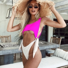 цена на Women's Side Knot Front Cut-Out High Waisted One-Piece Swimsuit Monokini Push Up Padded Hollow Out Keyhole Swimwear