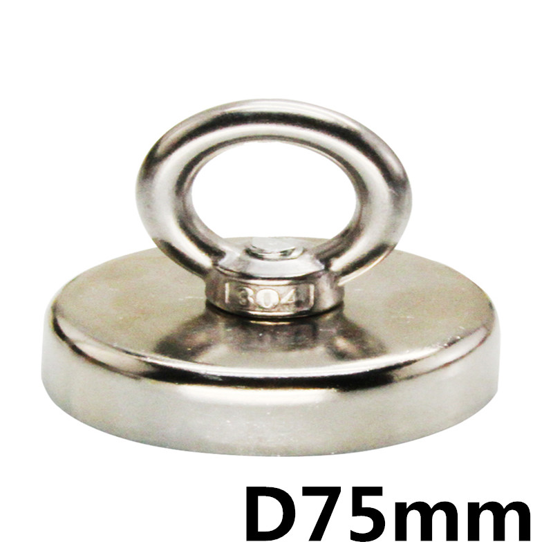 D75mm strong powerful round neodymium Magnet hook salvage Fishing magnet sea equipments Holder Pulling Mounting Pot with ring цена