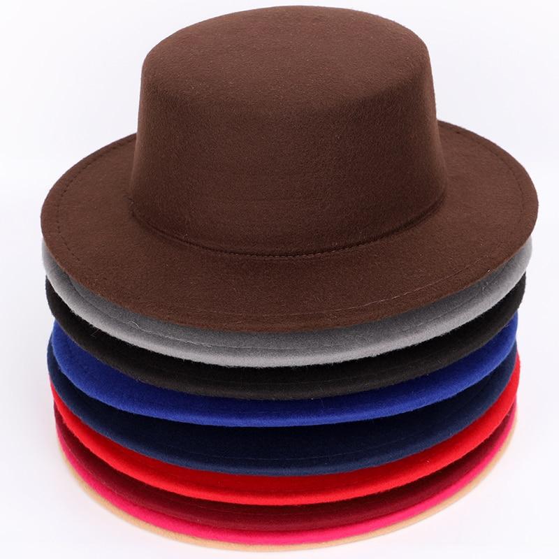Best Wool Solid Color Ladies Fedoras Autumn Winter Men s Top Hat Bowler Hat  Woman Cylinder Felt 729578c95f2