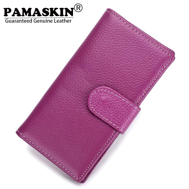 PAMASKIN Brand Premium Genuine Leather Middle Long Women Clutch Wallets Card Wallet Bi-fold Business Female Purses 2018 Hot Sale