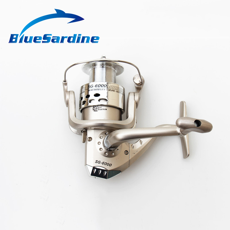 6BB Fishing Reel 6000 Large Spinning Reels Collapsible ABS Pool Gear Fishing Tackle Carretilha PescaSG6000 5000 4000
