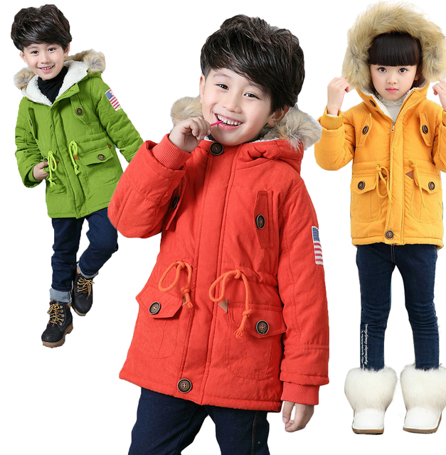 Winter Kids Faux Fur Coats 2016 New Brand Girls Hooded Jackets For Boys Thick Cotton Xmas Kids Winter Pockets Parkas Clothing