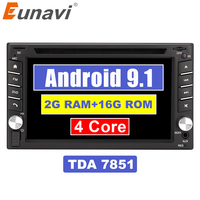 Eunavi 2 Din Quad Core TDA7851 Universal Android 9.1 Car Multimedia dvd radio stereo audio Player 2din Tablet PC GPS Navigation