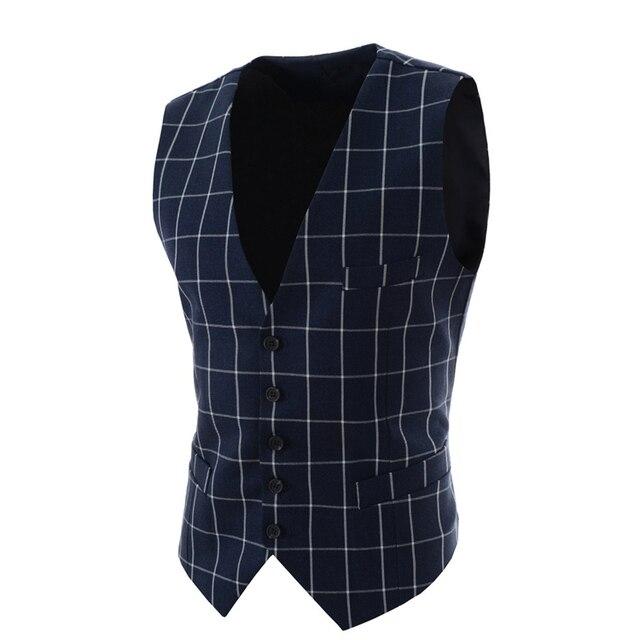 2016 Slim Fit Mens colete novo terno ocasional homens colete homens do estilo da manta Chalecos Hombre Business vestido Vest mangas Gilet MQ171