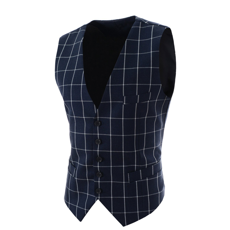 2017 Slim Fit Mens Waistcoat New Casual Suit Vest Men Plaid Style Men Chalecos Hombre Business Dress Vest Sleeveless Gilet MQ171 ...
