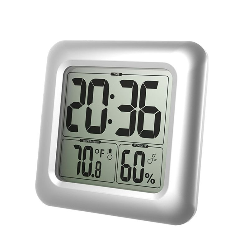 Digital Wall Clock Suction Cup Waterproof Kitchen Bathroom Shower Clock Temperature Humidity Sensor Time Watch