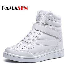 PAMASEN Barato primavera outono ankle boots de salto sapatos mulheres sapatos casuais altura aumento botas de alta top sapatos primavera cor misturada
