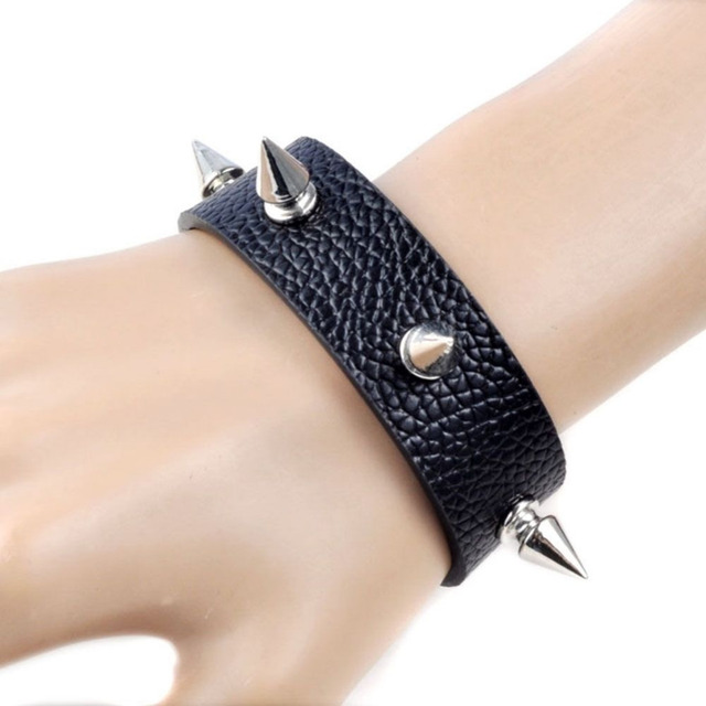 Spiked Leather Chain Link Gothic Wristband Bracelet aWSA7csfn5