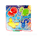 29*29*2.5 СМ Магнитный Лабиринт Океанической Рыбы Игра-Головоломка Дети Деревянные Развивающие Игрушки Использовать Перо Диски бисер