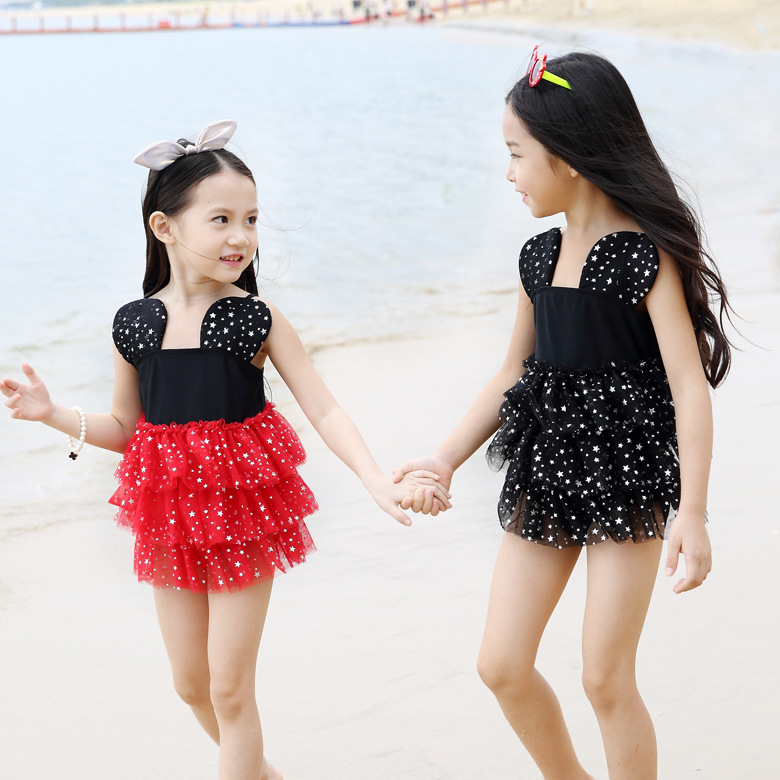 Kids Swimsuit 2016 Skirt One Piece Blackred Cute For Girls Beach Bathing Wear High Quality Children Swimming Suit In Childrens Suits From