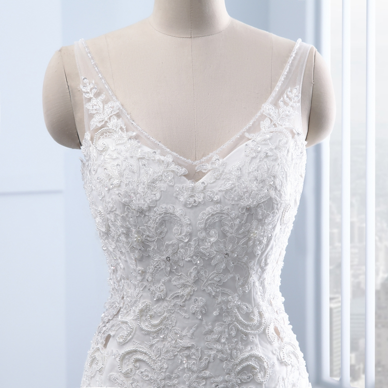 Elegant Vintage Appliques Pearls Lace Mermaid Weeding Dress