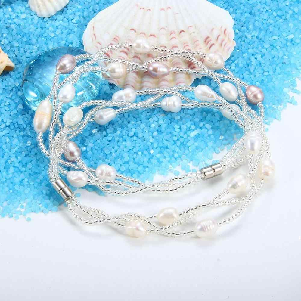 SEVEN GIRLG Multi Layer Pearl Bracelet For Women Freshwater Pearl Bracelet Wedding Fine Jewelry Gift