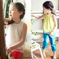 Wholesale 2015 Summer Pure  Sleeveless Girls Tops  Vest  Children Lace Shirt   Kids Princess Shirt  White Yellow