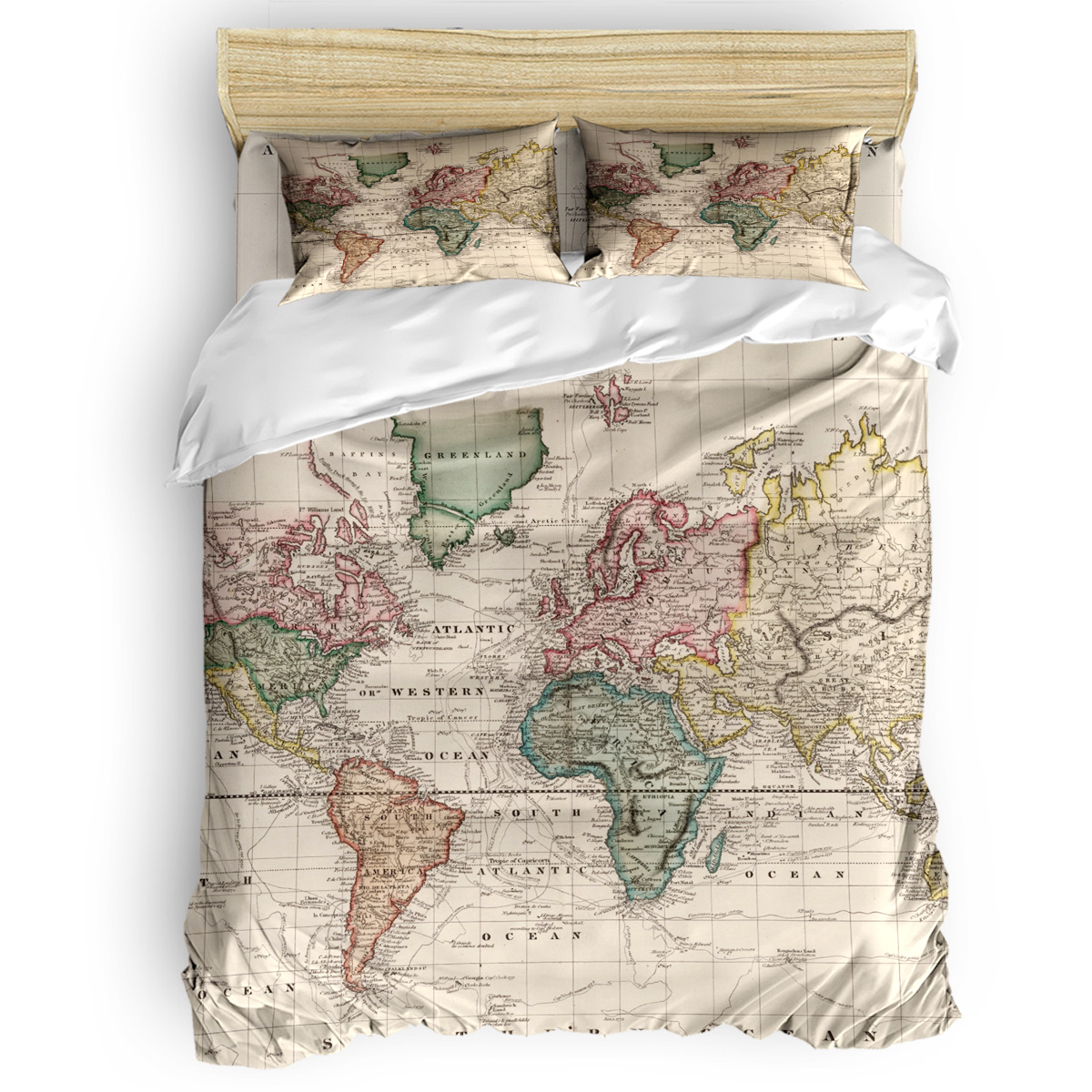 Vintage Map of The World (1833) Duvet Cover 3D King Size ...