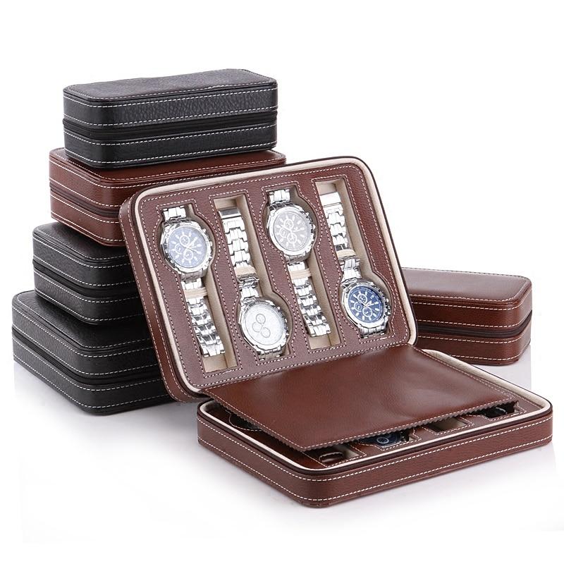 Lujo 2-8 rejillas de cuero caja de Reloj portátil de viaje bolsa de almacenamiento relojes caja de exhibición caja de joyería reloj de colección