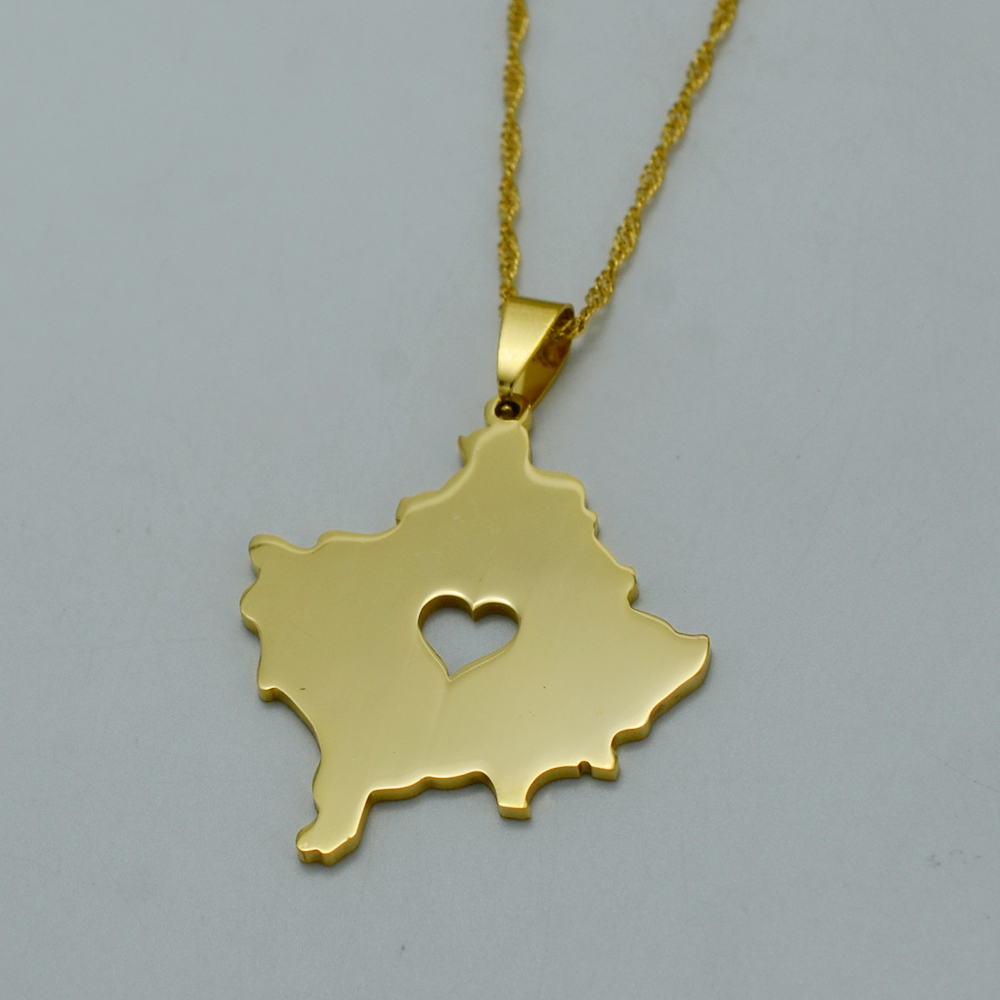 Gold Color Kosovo Maps Pendant Necklace With Heart for Women Jewelry Map of Kosoves Jewellery #J0538